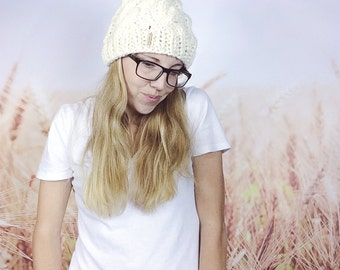 Cable Knit Beanie, Knitted Pom Pom Hat, Chunky Knit Hat, Cream Knitted Hat, White Winter Hat, White Knitted Hat, Pom Pom Beanie - {CREAM}