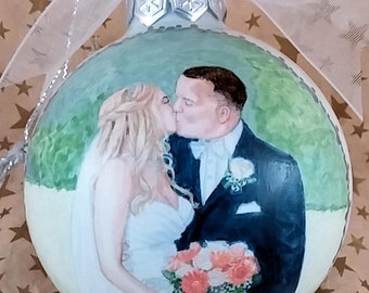 Custom First Kiss Wedding Portrait Ornament, Couple Wedding Portrait, Wedding Portrait Ornament, 1st Christmas Gift, Profile Portrait