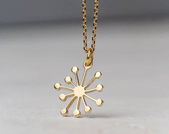 Dandelion Necklace 14k solid Gold Starbust Pendant Gift for Her Delicate Snowflake Necklace birthday Gift bridal Dainty necklace
