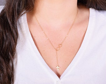 Gold Cross and Infinity Necklace, Cross Lariat, Gold Necklace, Bridesmaid Necklace, Gift Necklace