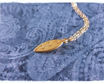 Tiny Gold Wave Surfboard Necklace - Matte 24kt Gold Plate Wave Surfboard Charm on a Delicate 14kt Gold Filled Cable Chain or Charm Only