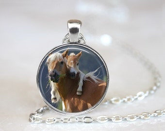 Horses Glass Pendant, Photo Glass Necklace, Glass Keychain, Glass Jewelry
