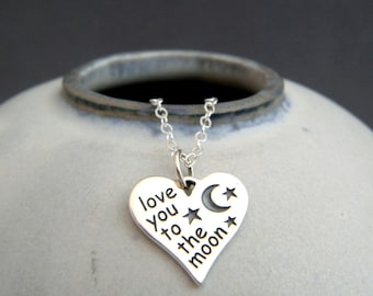 love you to the moon silver heart necklace. small sterling silver pendant. affirmation. simple charm word jewelry new mom baby gift
