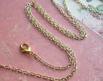 "One 24"" inch Necklace .. Oval Links, Cable Chain .. Antique Copper, Dark Brass, Soft Gold or Silver links .. Necklace w/lobster style clasp"