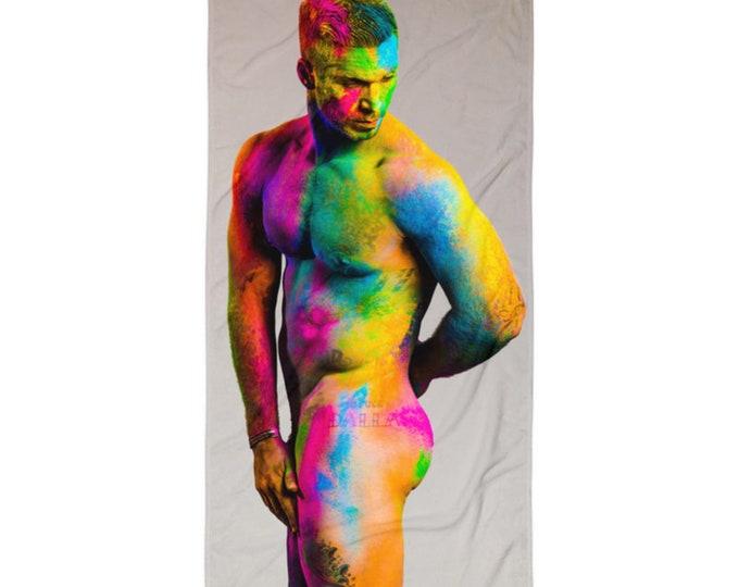Alex Minsky Nude male model beach towel
