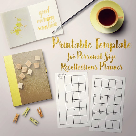 Printable Monthly 2-page Template for Personal Recollections