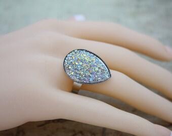 Sugar Stone Ring Statement Ring Statement Jewelry Costume Jewelry Costume Ring Large Ring Sparkle Ring Sparkle Jewelry Shimmering Ring 004
