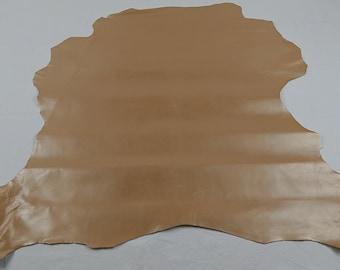 Golden beige goatskin leather