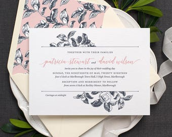 Botanical Wedding Invitation / 'Vintage Rose' Modern Calligraphy Floral Wedding Invite  / Slate Grey Blue Rose Pink or Custom / ONE SAMPLE