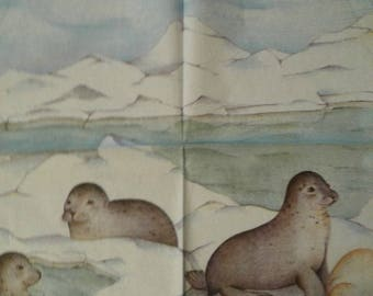 """Nice pattern """"Seals on ice"""" paper towel"""