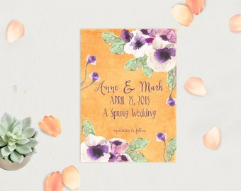 PRINTED Save The Date Cards in Orange & Purple