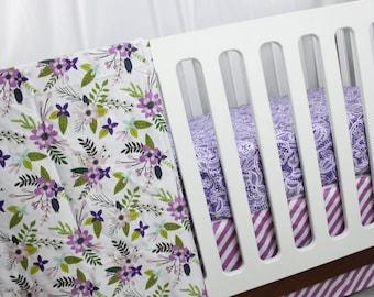 Purple Floral Crib Bedding - Stripes, Lace and Flowers - Premium Custom Crib Bedding - 3 pc set