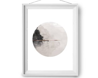 Watercolor Art, Beige Art Print, Scandinavian Art, Circle Art, Modern Minimalist Print, 20x24 in Art, Art Prints, Wall Decor, Print Avenue