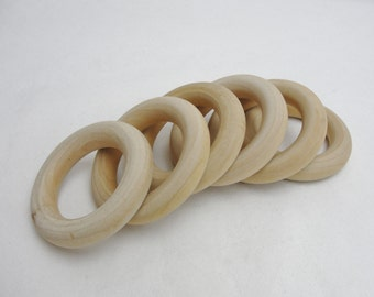 """6 Wooden rings 2 1/2"""" with 1 1/2"""" inside dimension"""