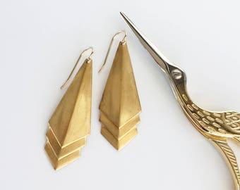Gold Art Deco Earrings, 14K Gold Filled Ear Hooks, Layered Triangle Earrings, Geometric Dangle Jewellery