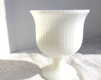 Home Decor Vintage Milk Glass Vase E.O. Brody Planter Wedding Decor