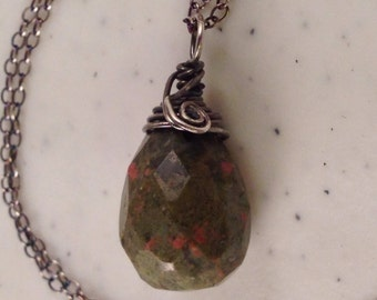 Unakite Pendant Wrapped in Antique Sterling Silver 1 inch long on Antiqued 18 Inch Sterling Silver Chain