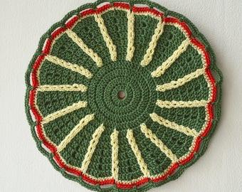 Crochet Pot Holder, Crochet Potholder, Hot Pad, Oven Mitt, Pot Stand, Kitchen Cookware, Home Decor, Baking, Green, Red, Yellow, Cotton, Gift