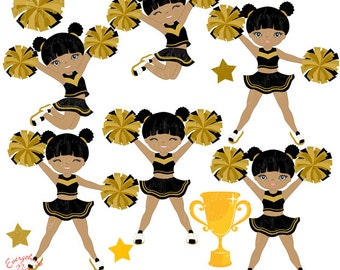 Cheerer Afro Girl in Black and Gold Clipart Set