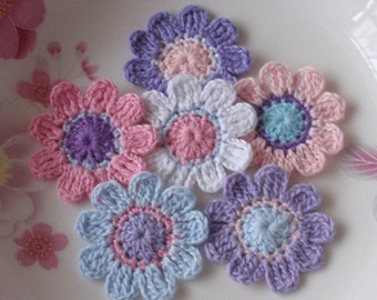 6 Crochet  Flowers In 1-1/2 inches YH - 051-04