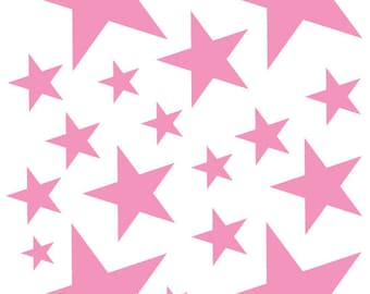 52 Soft Pink Vinyl Star Shaped Bedroom Wall Decals Stickers Stars Teen Kids Baby Nursery Dorm Room Removable Custom Made Easy to Install