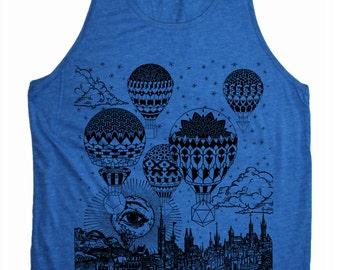 Men's GRAVITATION Hot Air Balloon Mandala Tank Top Sacred Geometry Hand Screen Printed Psychedelic Shirt