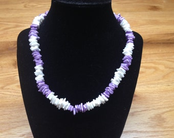 Vintage Purple and White Stone Beaded Necklace, Length 17''