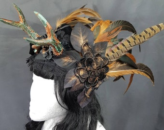 Pagan Patina Antlers headpiece with feathers, unique Paganheadpiece