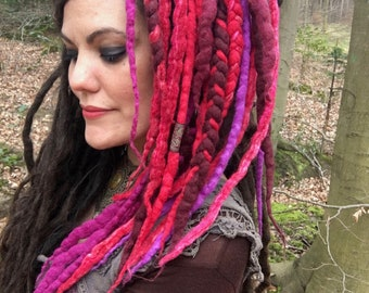 The 'Dreamberry' Merlocks, Dread Falls, Felted Wool Hair Falls with Braids and Fabric Dread Beads