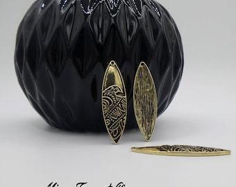 4 pendants antique bronze wave shuttles 42 x 12 mm