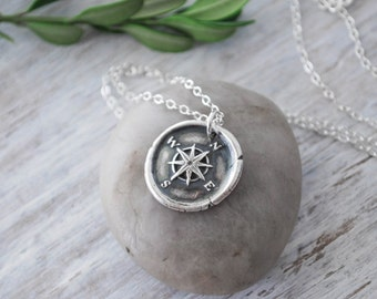 Silver compass necklace wax seal compass direction wax seal compass rose necklace silver compass necklace silver compass wax seal handcrafted aloadofball Image collections