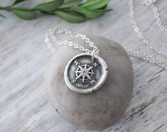 Wax seal compass rose necklace silver compass necklace like this item aloadofball Choice Image