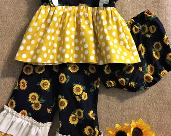 Baby Girl's Clothing Set, Baby Girl's Clothes, Baby Girl's Ruffle Pants, Baby Girl's Dress