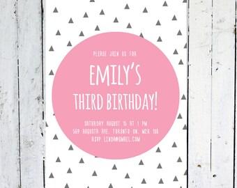 Birthday Invitation Girl, Girl, Birthday Invitation, Geometric, Pink, Grey, Triangle, Modern, Printable, Printed