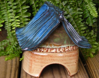 Asian Inspired Blue and Wheat Toad House with FREE SHIPPING!
