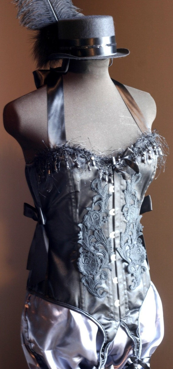 COTTONMOUTH Gothic Victorian Black Overbust Corset Saloon Girl vintage dress