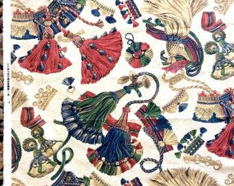 Tassel Fabric by Portfolio Textiles Red Blue Green Vintage Fabric
