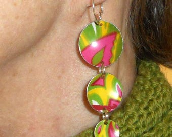 Recycled Tin Earrings, Convex Flower Power Tin Dangles ala 1960s Hippie Earrings ~ Hot Pink, Lime Green Swirls
