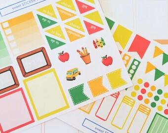 69 School Themed Planner Stickers Set- Back to School Color Scheme Sticker Set- perfect in your Erin Condren planner, calendar or scrapbook