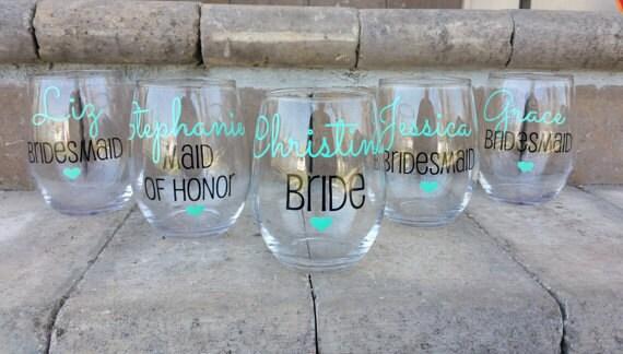 Bridesmaid gift Bridesmaid Wine Glasses Bachelorette Party