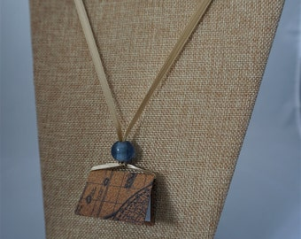 Handmade Book Necklace with Glass Bead on a Ribbon Strand