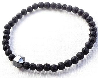 Raw Stone Bracelet  Strength Power Lava Bracelet Men Bracelet Santorini Black Lava Stone Bracelet. Hematite Natural Stone Bracelet Tribal