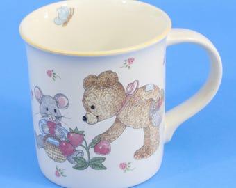 Mikasa Teddy Mug, Cup, CCO18, Teddy Bear, Mouse, Snail, Strawberries, Mint Cond