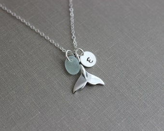 Whale tail Necklace with Genuine Sea glass and Personalized Initial charm disc, Sterling Silver Beach Jewelry, Eco Friendly Fashion mermaid