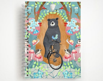 SALE | Bicycle Riding Bear 5x7 Notebook | Journal | Studio Carrie Notebook | Gift