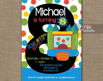 Bounce house invitat etsy bounce house invitation 8th bounce house birthday invitations 8 year old bounce party invites filmwisefo Choice Image