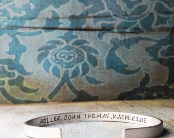 Sterling Silver Cuff Bracelet - Secret Message Cuff Custom Matte Personalized Mother Children Child Mom Baby Wife