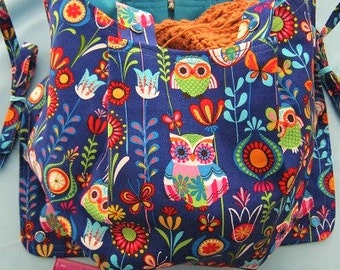 KNITTING BAG APRON - Made to Order - Euro Mod Owls - Rare Hancock Fabric - Allow 3 weeks for Delivery - Free Domestic Shipping!