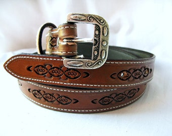 Handmade Leather Embossed Belt