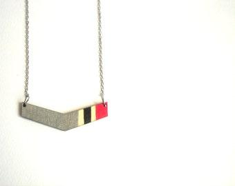Chevron Necklace, Wood  Necklace,Necklace,Geometric Jewelry